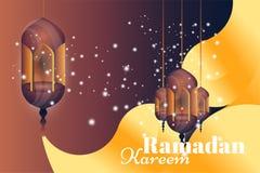 Ramadan Kareem hälsningkort Härliga glödande lampor på en bakgrund för illustrationsköld för 10 eps vektor stock illustrationer