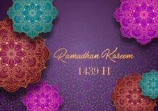 Ramadan Kareem hälsningkort med färgrika arabiska designmodeller vektor illustrationer