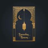 Ramadan Kareem hälsningkort med kalligrafi Vektorhanden skissade den orientaliska bågen, lyktan, den nya månen och stjärnor Arkivfoton