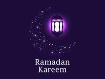 ramadan kareem Halvmånformig och lykta, stjärnor Muslimska ferieljus vektor vektor illustrationer
