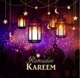 Ramadan Kareem, Hintergrund grüßend Stockbild