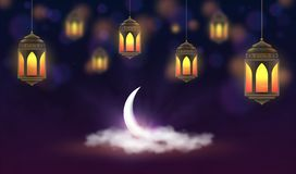 Ramadan Kareem-Hintergrund Hängende Laternen und Halbmond in den Wolken Moslemisches Fest des heiligen Monats lizenzfreie abbildung