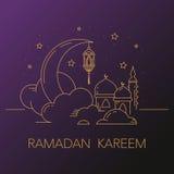 Ramadan Kareem-Hintergrund mit Mond, Laterne, Moschee in den Wolken Stockfotografie