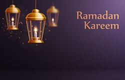 Ramadan-kareem Hintergrundgold-glowng Laternen Stockfotos