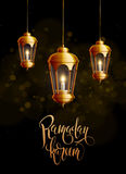 Ramadan-kareem Hintergrundgold-glowng Laternen Lizenzfreie Stockfotografie