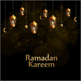Ramadan-kareem Hintergrundgold-glowng Laternen Stockfotografie