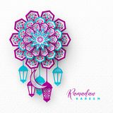 Ramadan Kareem holiday background. 3d paper cut style flowers with crescent and lanterns, islamic traditional geometric pattern. Vector illustration vector illustration