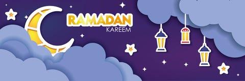 Ramadan Kareem horisontalbaner snittmoln, lyktor och måne för papper 3d på mörk bakgrund för natthimmel också vektor för coreldra arkivbild