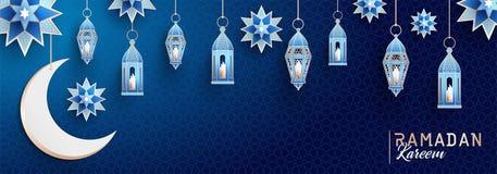Ramadan Kareem horizontal banner with arabesque, traditional lanterns, crescent and stars on dark blue night sky background. Ramadan Kareem concept horizontal vector illustration