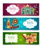 Ramadan Kareem 3 Horizontal Banners Set stock illustration