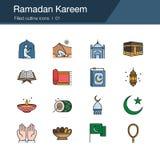 Ramadan Kareem icons. Filled outline design. For presentation, graphic design, mobile application, web design, infographics, UI. Vector illustration stock illustration
