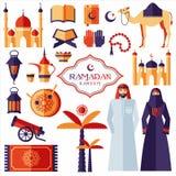Ramadan Kareem icons set of Arabian Stock Images