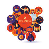 Ramadan Kareem icons set of Arabian. Stock Image