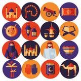 Ramadan Kareem-Ikonen eingestellt vom Araber Lizenzfreies Stockfoto