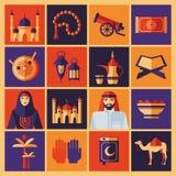 Ramadan Kareem-Ikonen eingestellt vom Araber Farbcollage Lizenzfreies Stockbild