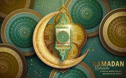 Ramadan Kareem illustration. With crescent decoration and green and golden patterns