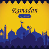 Ramadan Kareem. Illustration of Mosque silhouette with Ramadan Kareem text Generous Ramadan Royalty Free Stock Photo