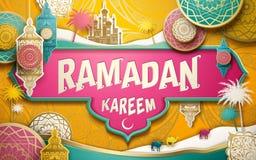 Ramadan Kareem illustration. With paper cutting style patterns and lanterns