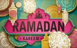 Ramadan Kareem illustration. With paper cutting style patterns and lanterns vector illustration