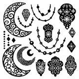 Ramadan Kareem illustration. Ramadan Kareem theme. Vector card with flashlights and moon. Hand drawn illustration with lamps and crescent royalty free illustration