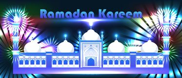 Ramadan Kareem India Delhi extend banner RGB. This illustration is drawing abstract India Delhi extend Ramadan Kareem with colorful background in banner size Stock Photography
