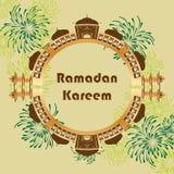 Ramadan Kareem India Delhi extiende la tarjeta del círculo Imagen de archivo
