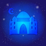 Ramadan Kareem islamic background. Eid mubarak. Islam holly month. Ramadan greeting template. Midnight muslim. Architecture. Mosque on universe stock illustration