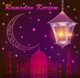 Ramadan Kareem islamic background. Eid mubarak. Islam holly month. Vector illustration of lighting lantern. Ramadan greeting template. Arabic design. Intricate vector illustration