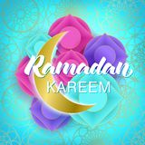 Ramadan Kareem islamic banner with golden moon and Arabic circle pattern. Greeting card for Ramadan festival celebration, invitation, sale. Vector illustration stock illustration