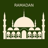 Ramadan Kareem islamic design mosque dome silhouette with arabic pattern. stock illustration