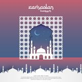 Ramadan Kareem islamic greeting card design with 3D dome mosque, door or window, and pattern element. paper cut background style. Vector illustration Stock Photos