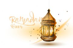 Ramadan Kareem islamic. greeting design arabic pattern lantern and calligraphy vector illustration