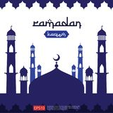 Ramadan Kareem islamic greeting design with dome mosque element in flat style. background Vector illustration.  stock illustration