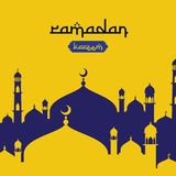 Ramadan Kareem islamic greeting design with dome mosque element in flat style. background Vector illustration.  royalty free illustration