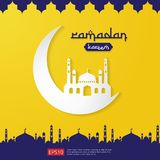 Ramadan Kareem islamic greeting design with dome mosque element in flat style. background Vector illustration.  Stock Image