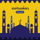 Ramadan Kareem islamic greeting design with dome mosque element in flat style. background Vector illustration.  vector illustration