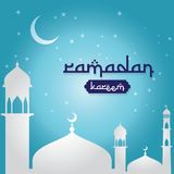 Ramadan Kareem islamic greeting design with dome mosque and moon and stars on sky element. background Vector illustration.  Royalty Free Stock Photos