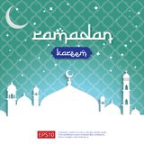 Ramadan Kareem islamic greeting design with dome mosque and moon and stars on sky element. background Vector illustration.  Stock Photos