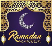 Ramadan kareem islamic greeting design line mosque dome with arabic pattern lantern and calligraphy. vector illustration
