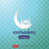 Ramadan Kareem islamic greeting design with moon and dome mosque element. background Vector illustration.  stock illustration
