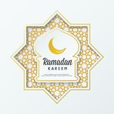 Ramadan Kareem islamic greeting design mosque dome with arabic pattern and calligraphy. Modern, Simply, Minimalist, Gold, White vector illustration