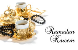 Ramadan kareem Islamic holidays coffee cups rosary Royalty Free Stock Photography