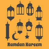 Ramadan Kareem - Islamic Holy Nights, Theme Design background, R. Amadan latern, saint fest, arabian and turk religion culture set Royalty Free Stock Photography