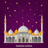 Ramadan Kareem kartki z pozdrowieniami układ z meczetem, minaretami, arabskimi olśniewającymi lampami i ornamentacyjnym wystrojem ilustracji