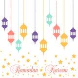 Ramadan Kareem lampion w płaskim stylu Obraz Stock