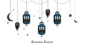 Ramadan Kareem with lamps, crescents and stars. Traditional black lantern of Ramadan background. Ramadan Kareem with lamps, crescents and stars. Traditional royalty free illustration