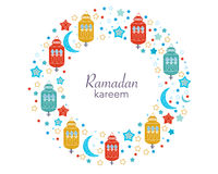 Ramadan Kareem with Lamps, Crescents and Stars. Traditional lantern of Ramadan circle frame colorful vector illustration. Ramadan Kareem with Lamps, Crescents Stock Images