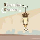 Ramadan Kareem Lantern Mosque Background Muslim Religion Holy Month. Vector Illustration stock illustration