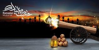 Ramadan kareem, lanterns, cannons shot royalty free stock photos