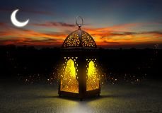 Ramadan kareem lanterns, 3d rendering. Ramadan Kareem beautiful greeting card with arabic calligraphy which means ``Ramadan kareem ``-traditional lantern of Royalty Free Stock Photography